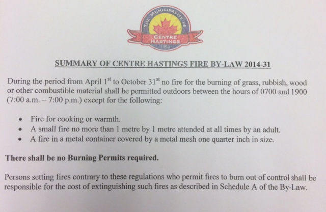 Fire Ban By-law - for more information please call 613-473-4030